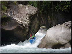 Blue kayak on slide, aweseom upper Jondachi
